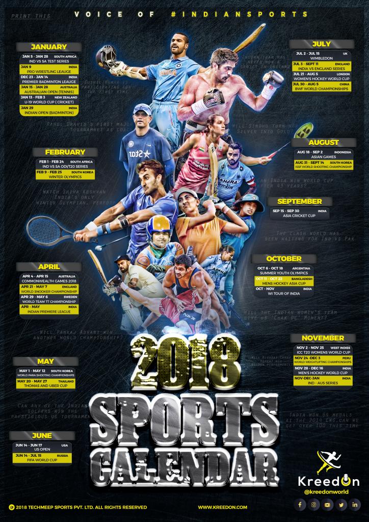 2018 Sports Calendar KreedOn