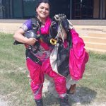 Adventure sport enthusiast Skydiver Shital Rane-Mahajan jumps in a Nav-wari Sari