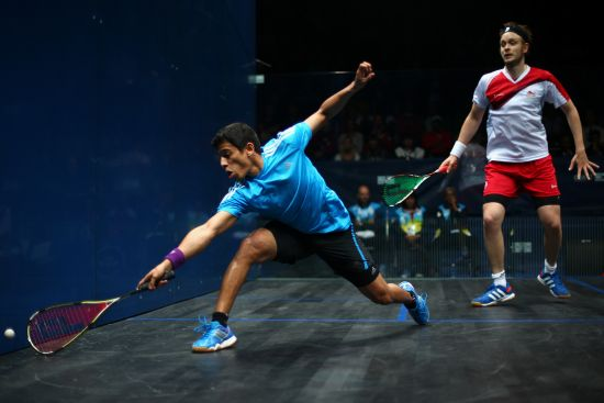 Saurav Ghosal fighting it out at the Asian Games 2014