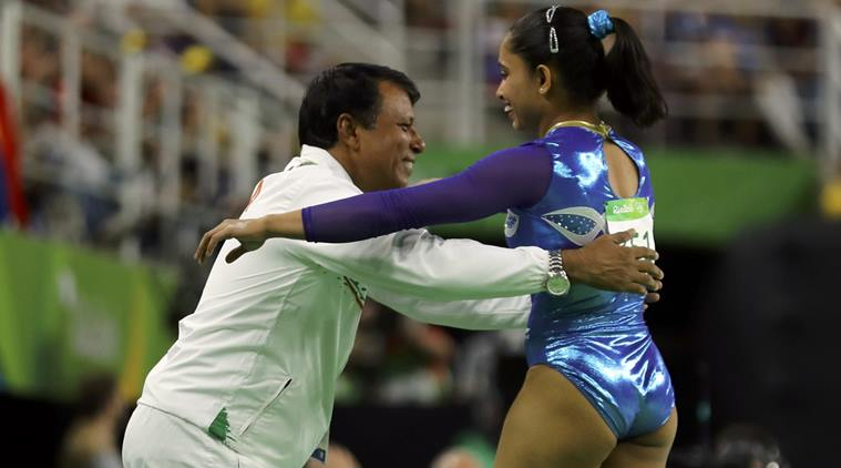 dipa karmakar with coach kreedon