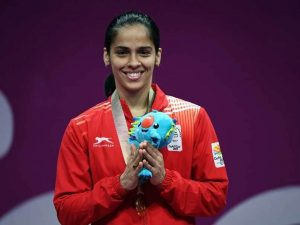 Saina with the gold medal at the 2018 Gold Coast Commonwealth Games KreedOn