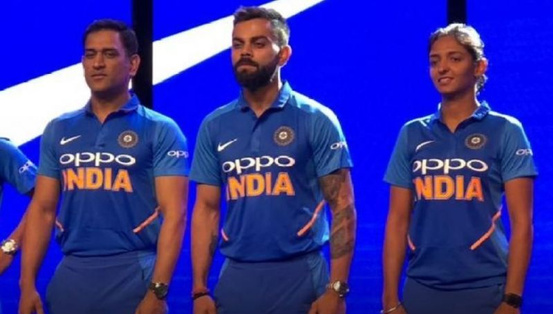 6aab1251c MS Dhoni, Virat Kohli, Harmanpreet Unveil Team India's New Jersey 2019