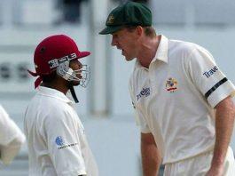 Biggest cricket fights kreedon: Sarwan vs McGrath