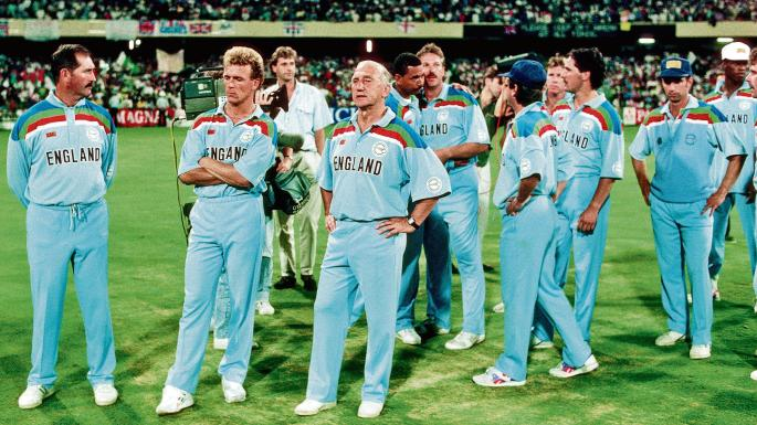 Team England lines up after 1992 World Cup Finals loss Kreedon