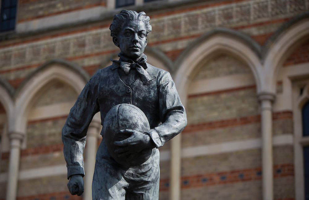 A statue of William Webb Ellis, credited with inventing the game of rugby stands outside of Rugby School in central England KreedOn