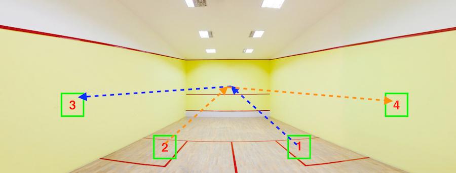 Squash court serve Kreedon