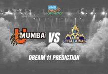 Dream11 MUM vs TAM Pro Kabaddi League 2019 | PKL Prediction