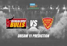 Dream11 BLR vs DEL Pro Kabaddi League 2019