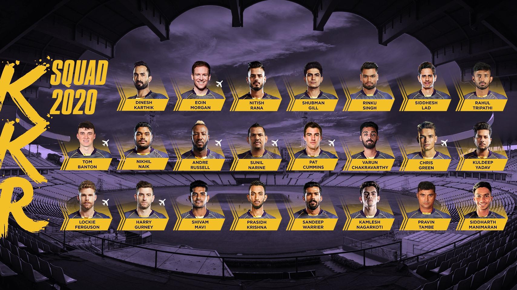 Kolkata Knight Riders KKR Squad IPL 2020 KreedOn