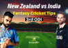 NZ vs IND 3rd ODI Dream11 Prediction