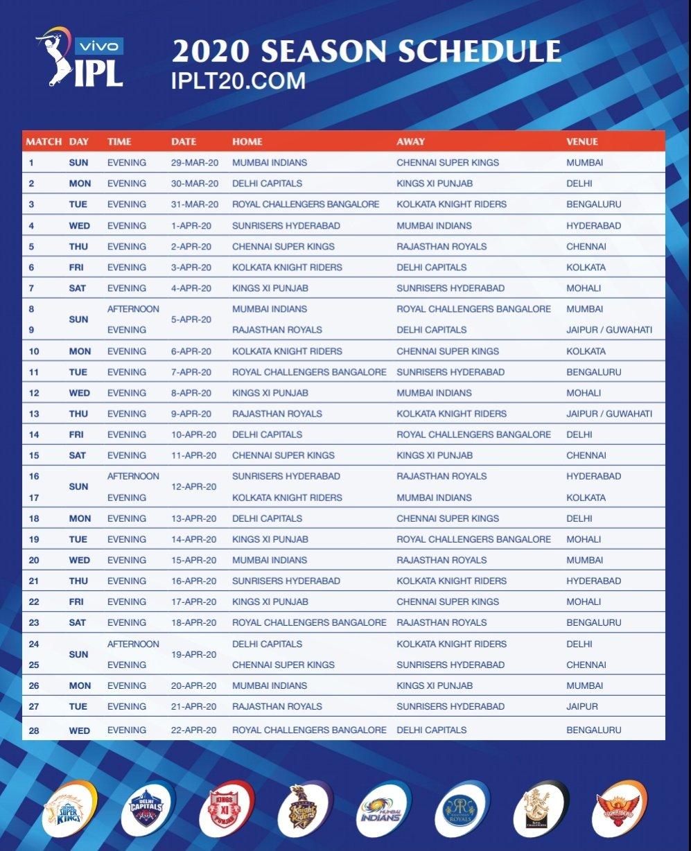 IPL Schedule 2020 KreedOn